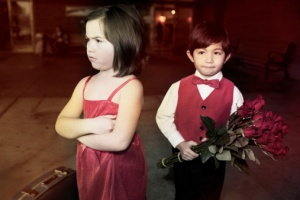 Argument Between Little Girl and Boy on Valentines, Copy Space